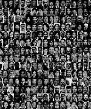 Lots of photos of people's faces from across the world