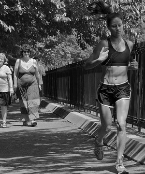 A woman running in Central Park, New York