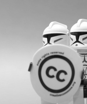 Two plastic C-Clone troopers with CC logo for 'Creative Commons'