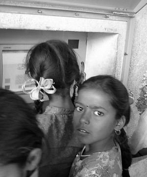 Indian school girls, one is looking at the camera