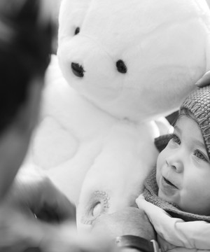 Baby with Teddy the Guardian