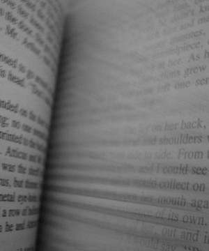 Close up of book pages being flipped through creating blurred text