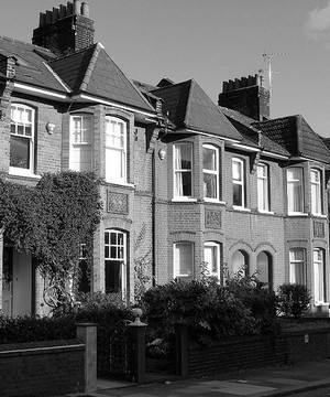 A row of red brick terrace houses