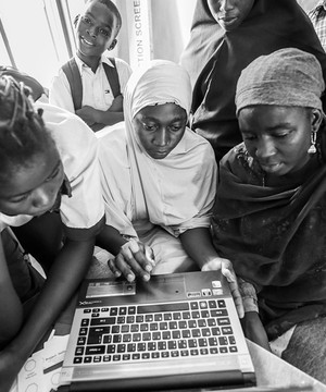 Young African women using a laptop