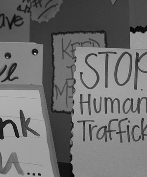 Stop human trafficking and thank you messages hand written on colourful posters