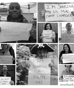 Pictures of people holding up signs saying 'I am sharing'