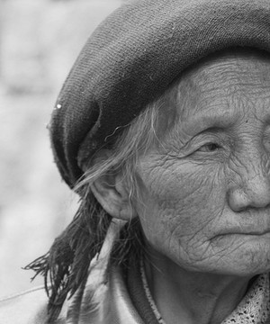 A close up of an elderly Chinese woman
