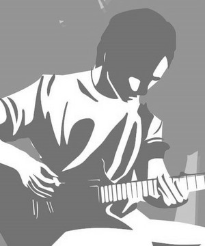 Graphic of a busker in blue, white and orange
