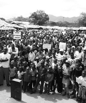 A crowd of people at an anti-corruption demonstration in Zimbabwe in 2013