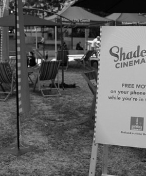 Deckchair with Shade Cinema branding on display at Shade Cinema event in Brisbane