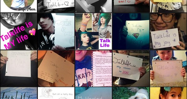 Grid of images of Talklife users holding up posters