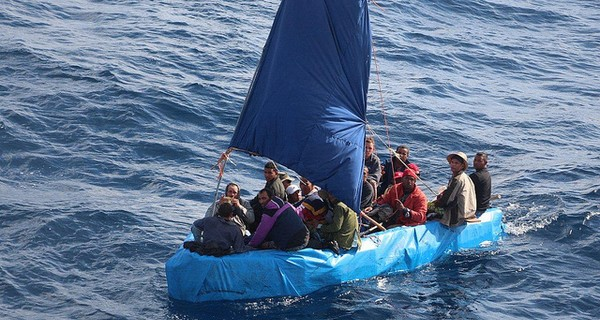 Group of migrants on a boat