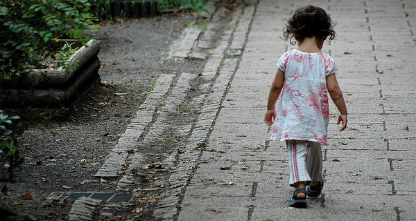 Small child walking away