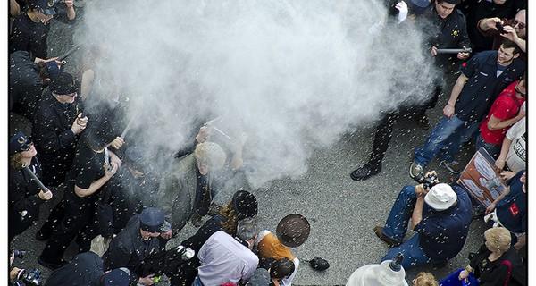 A violent protest scene