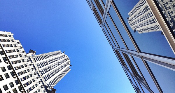 Skyscraper with clear blue sky