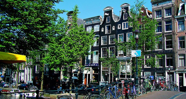 An Amsterdam street with bikes lined up along the roadside