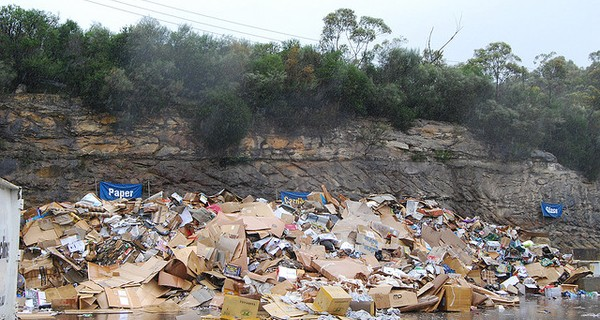 A mountain of cardboard waste in a rural setting