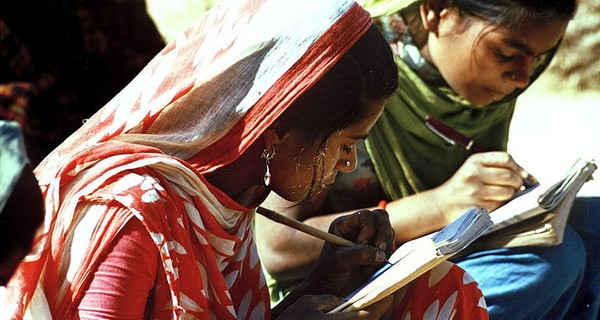 Two Indian girls studying