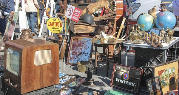 Lots of second hand items at a car boot sale
