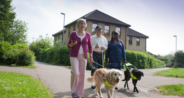 The founders of Georgie and another visually impaired lady walking along with guide dogs and the Georgie phone in hand