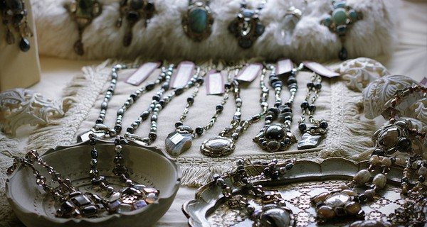 A variety of homemade jewellery