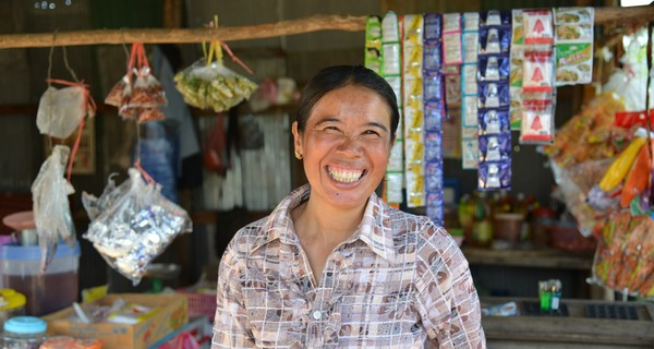 Saloun Kham who borrowed £365 to expand the stock of her general store