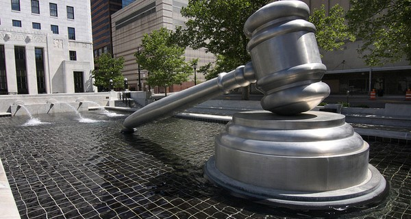 The giant gavel of justice at the Ohio Judicial Center in downtown Columbus, Ohio