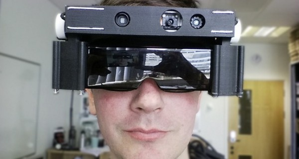A person wearing the smart glasses