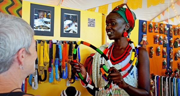 An African woman selling crafts